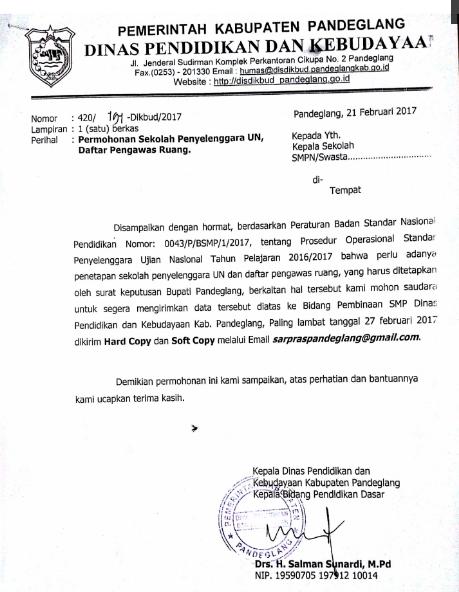 SURAT PERMOHONAN SEKOLAH PENYELENGGARA UN SMP 2017 | DINAS ...