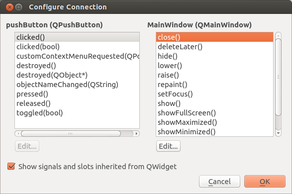 Qteveloper: Add control on Qt GUI and assign Signal/Slot graphically