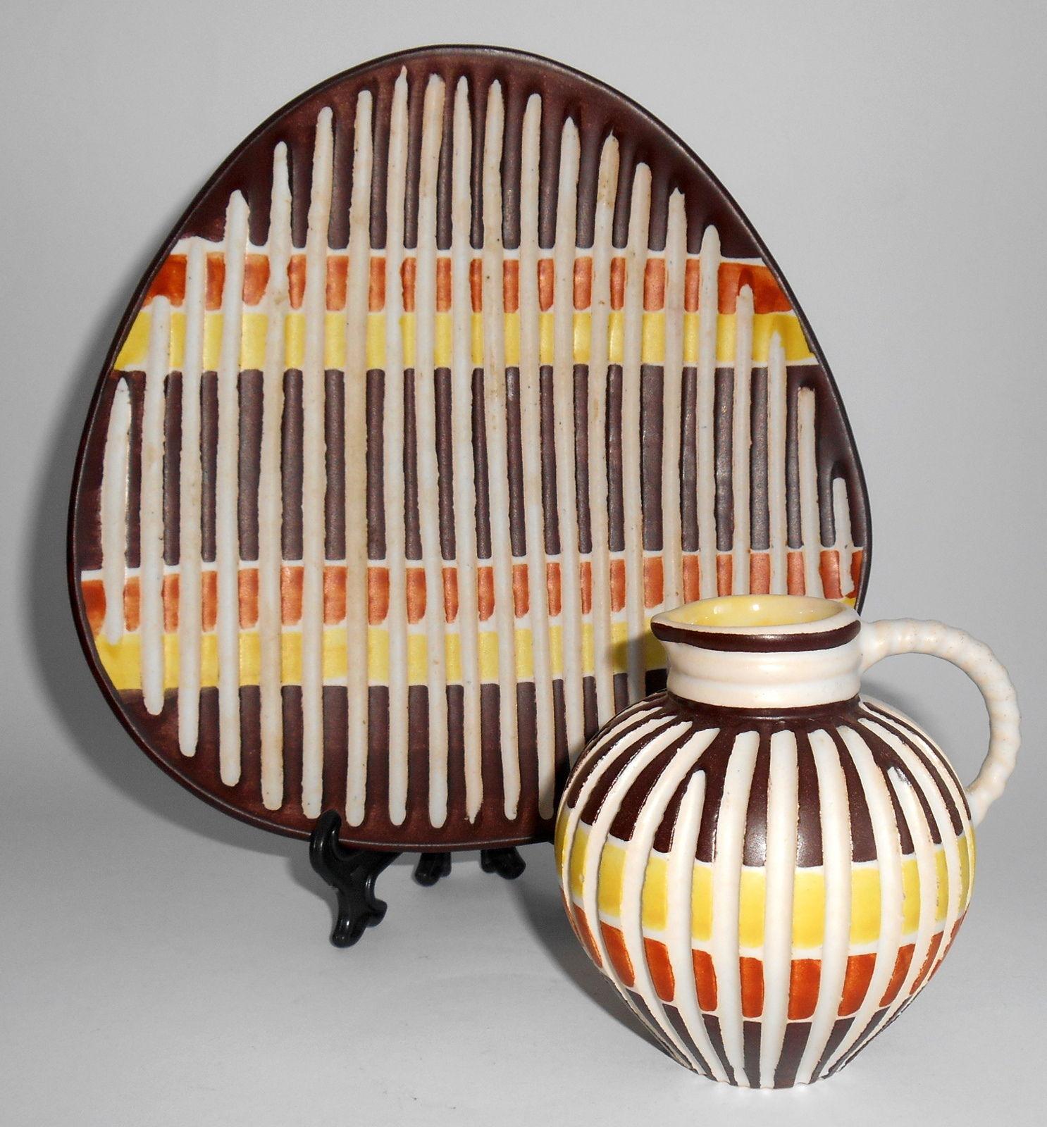 retro keramik muzeeum: RETRO WEST GERMAN POTTERY ILKRA EDEL KERAMIK VASE & PLATE  retro keramik