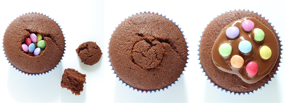 Pinata-Muffins - Schokoladenmuffins mit Smarties Anleitung 2
