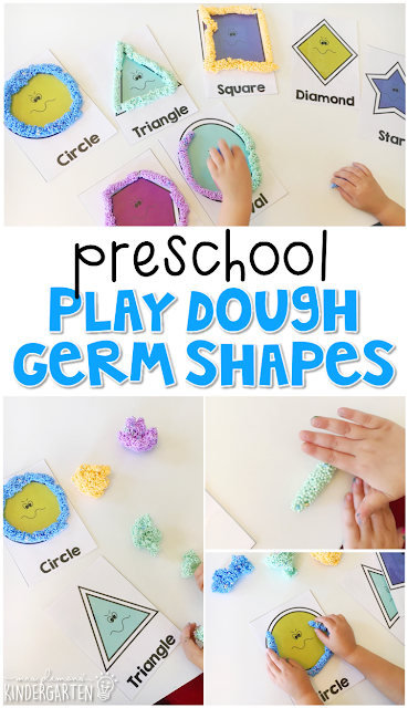 These play dough germ shapes are a super fun way to practice shapes and fine motor skills with a healthy habits theme. Great for tot school, preschool, or even kindergarten!