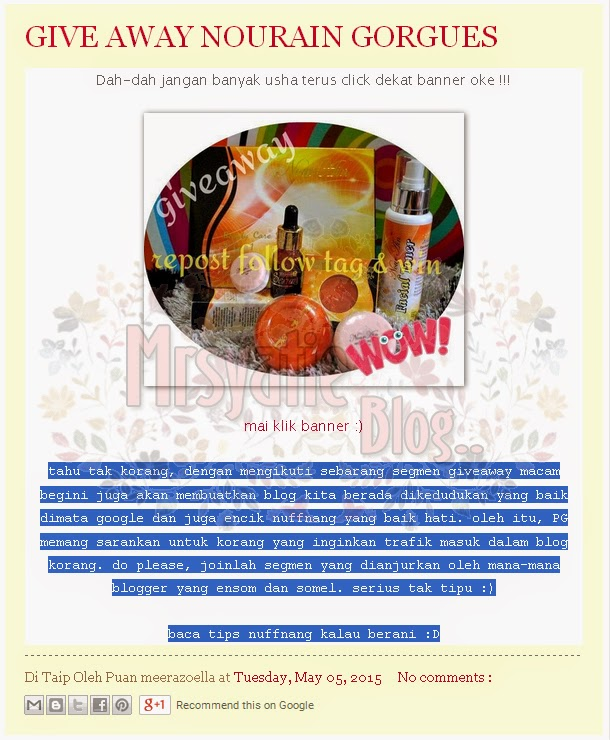 Contoh Copy Right Artikel Yang Tidak Dikreditkan ke Link Asal Blogger