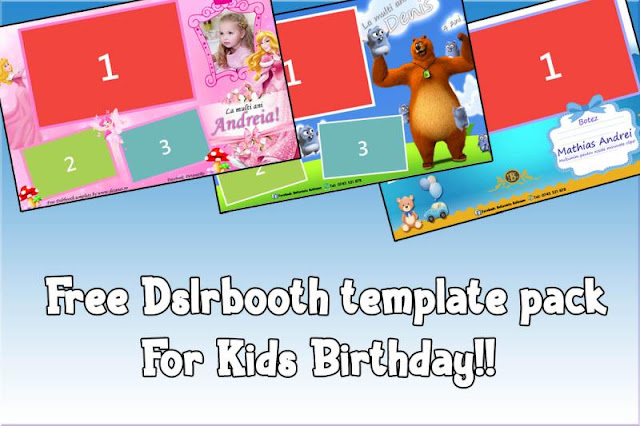 Free Dslrbooth template pack for kids birthday