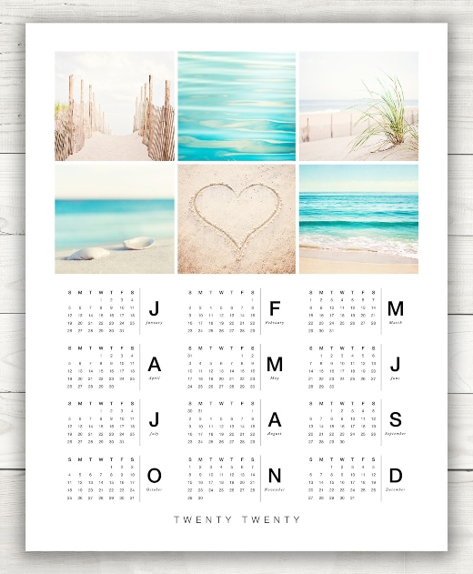 Beach Photo Wall Calendar 2020