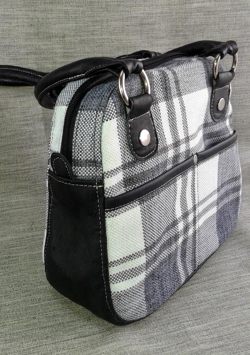 сумка из мебельного драпа и натуральной кожи