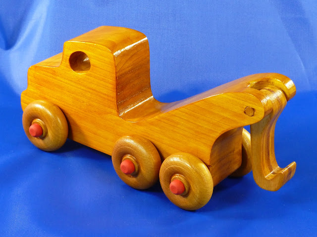 Handmade Wooden Toy Tow Truck From the Quick N' Easy 5 Truck Fleet