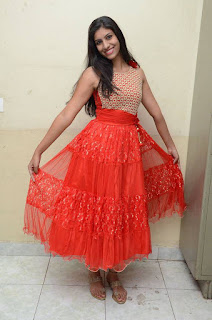Actress Srilekha Stills in Red Dress at Oke Oka Aasa Movie Audio Launch  0025