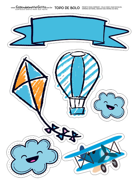 Volando para Niños: Toppers para Tartas, Tortas, Pasteles, Bizcochos o Cakes para Imprimir Gratis.