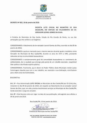Prefeitura decreta LUTO pelo falecimento de Leonel Gomes