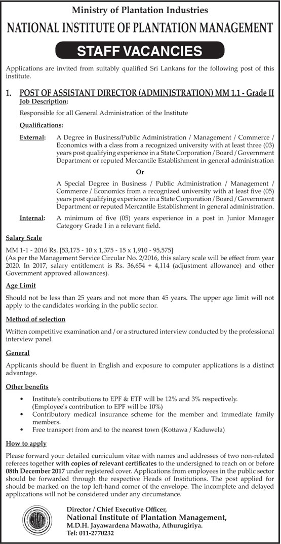Vacancy for Assistant Director at National Institute of Plantation