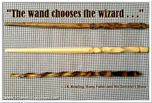 Handmade wooden Harry Potter-inspired magic wand  |  3 Garnets & 2 Sapphires