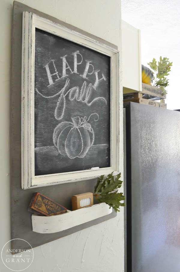 A simple fall message on a hallway chalkboard message center.  |  www.andersonandgrant.com