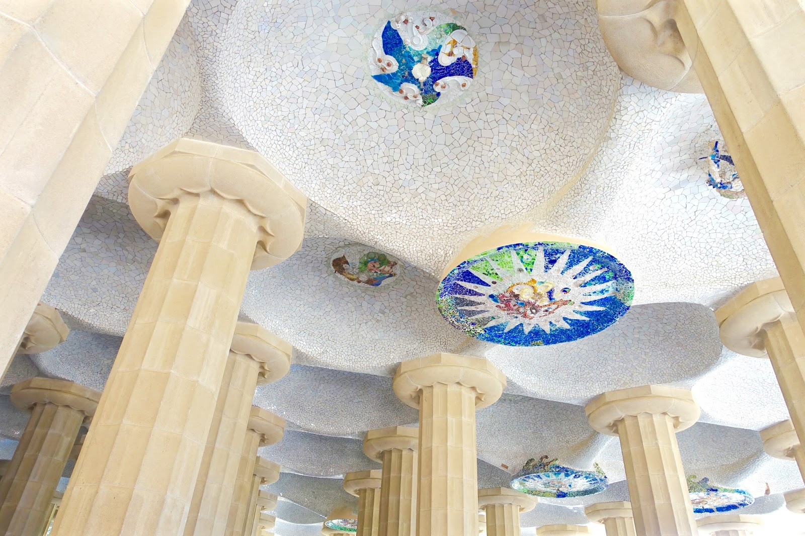 colourful works of art at park guell