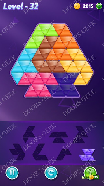 Block! Triangle Puzzle Advanced Level 32 Solution, Cheats, Walkthrough for Android, iPhone, iPad and iPod