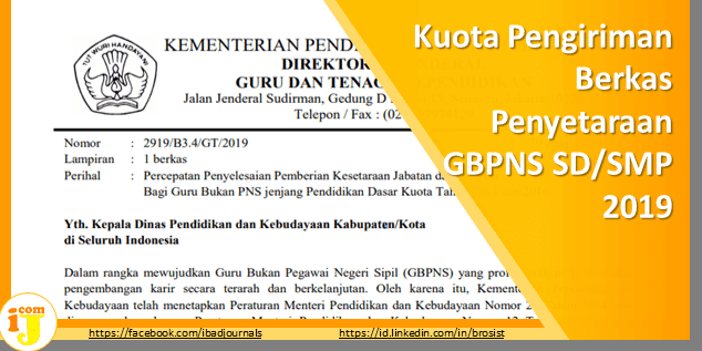 Kuota Pengiriman Berkas Penyetaraan GBPNS SD/SMP 2019
