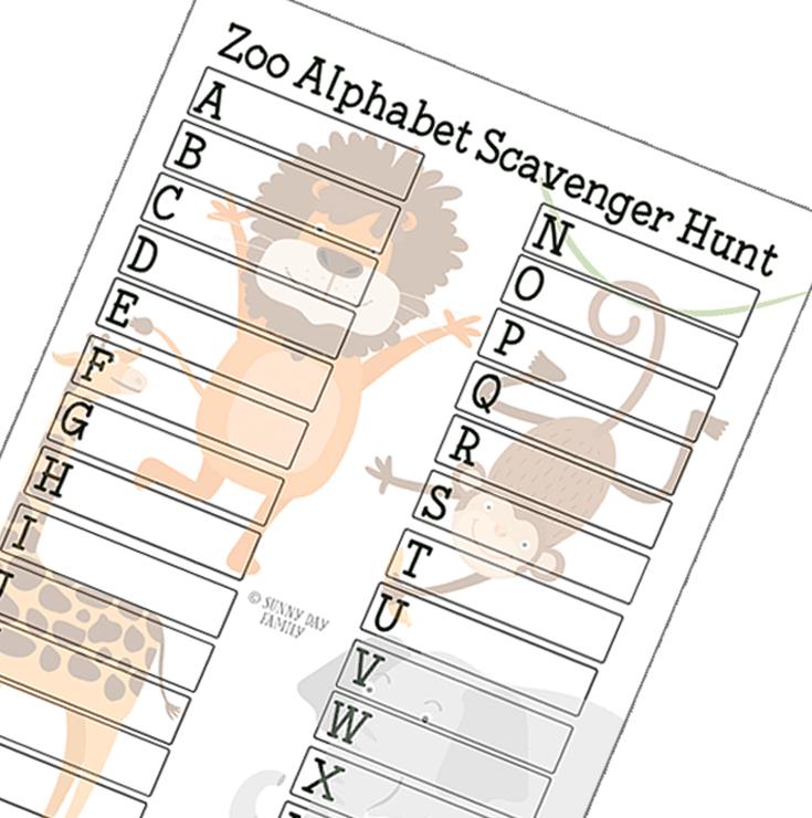 Zoo Alphabet Scavenger Hunt
