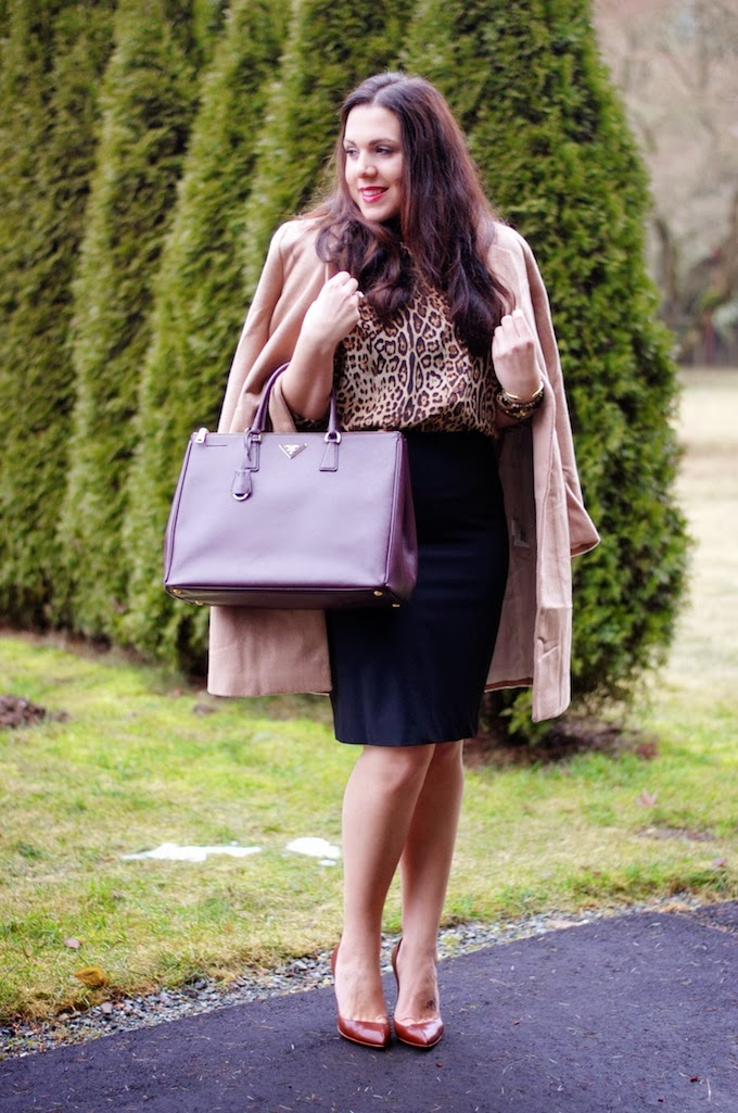 Joe Fresh Leopard Blouse and Jones New York pencil skirt outfit