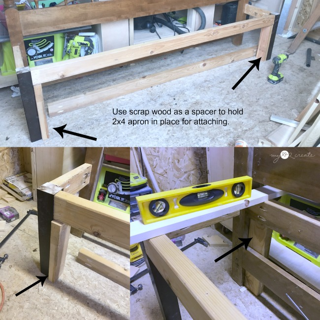using scrap wood to hold up apron for headboard bench
