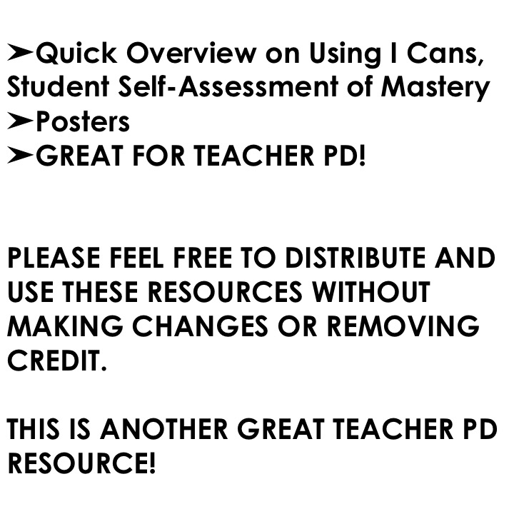 I Cans\u201d, Student Self-Assessment of Mastery - Learned Lessons