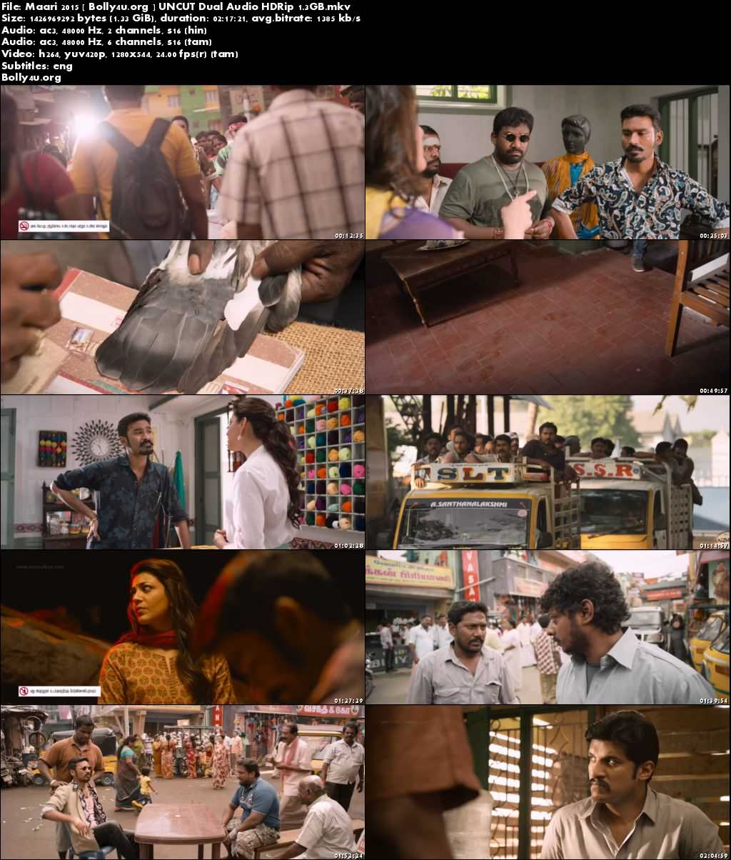 Maari 2015 HDRip 400MB UNCUT Hindi Dubbed Dual Audio 480p Download