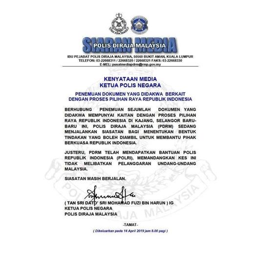 Dibantu Polri, Polisi Malaysia Masih Investigasi Surat Suara Tercoblos