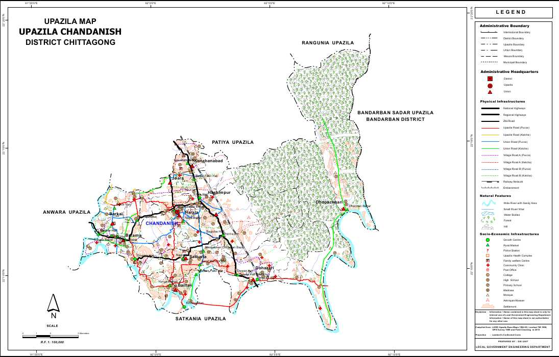 Chandanaish Upazila Map Chittagong District Bangladesh