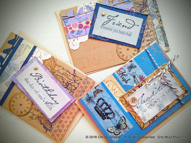 The note cards with stamps, watercolor paper accents, buttons, and washi tape.