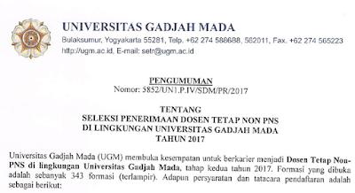 Penerimaan Dosen S2 dan S3 Non PNS Universitas Gajah Mada