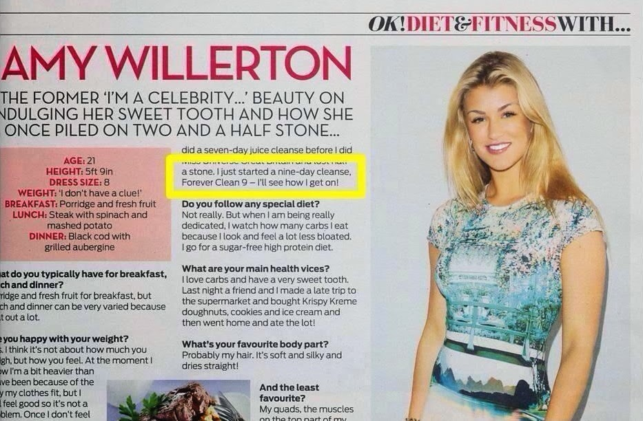 Clean 9, Forever Living, Amy Willerton, Detox Program, Diet, Celebrity Weight Loss, I'm a Celebrity