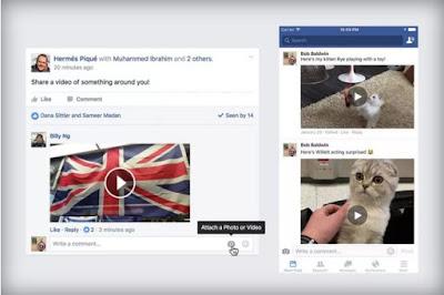 Fitur Terbaru Facebook, Upload Video Pada Komentar