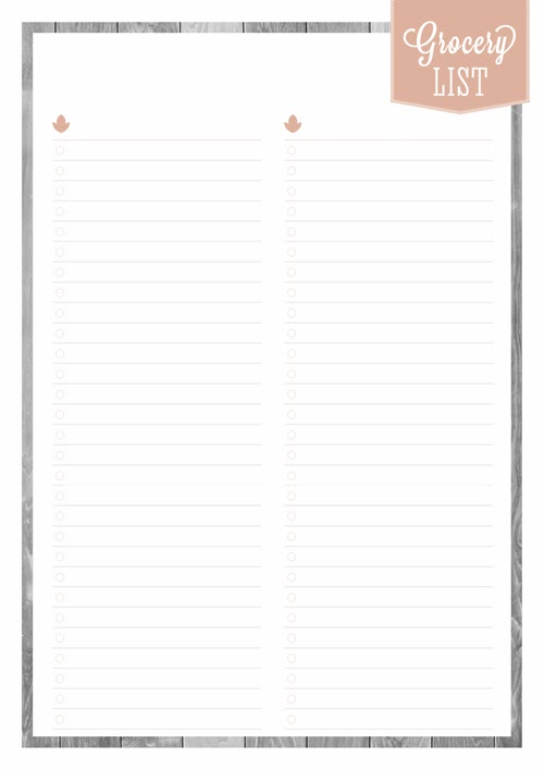 Free Printable Home Planner: Grocery List