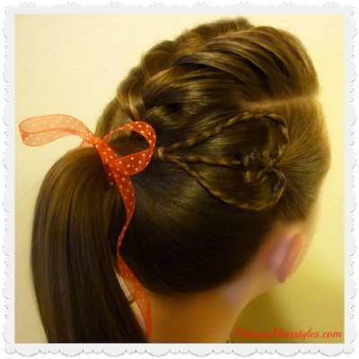 Heart hairstyle tutorial. Braided faux hawk with cute heart accent.