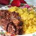 Pulut Kuning Dengan Rendang Daging