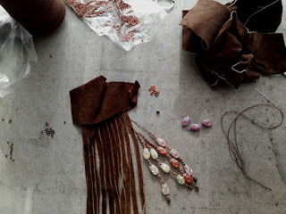 prepare leather and pearl strings for tassel craftrebella