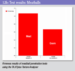 Test results chart - meatballs