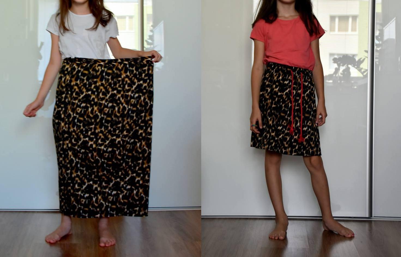refashion: sukňa s leopardím vzorom // zo sukni, ktorú nenosím, nový trendy kúsok pre malú slečnu
