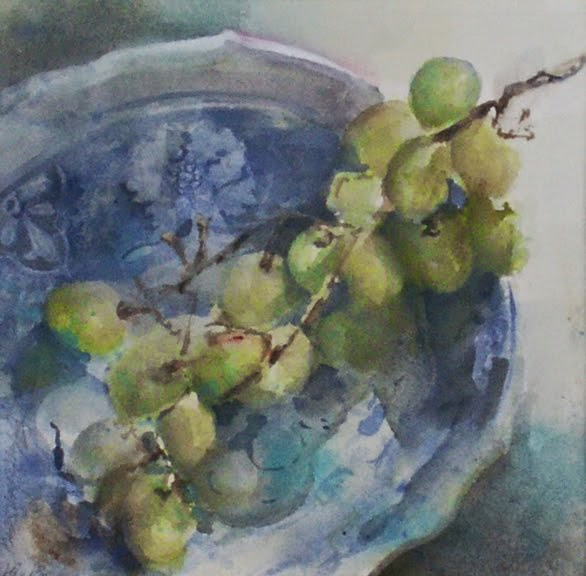 Grapes in Blue Bowl