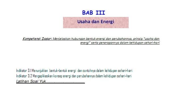 Rpp Usaha Dan Energi Smp Kelas 8 Lks Bab Usaha Dan Energi Ipa Itu Mengasyikan Kunci Dan