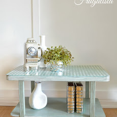Fancy  Distressed Harlequin Art Deco Side Table
