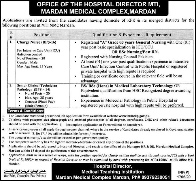 Mardan Medical Complex Jobs May 2020