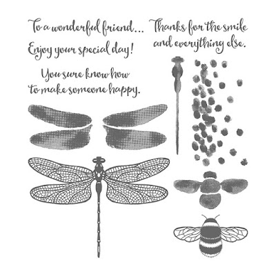 This picture shows the images that together comprise the Dragonfly Dreams stamp set by Stampin' Up!