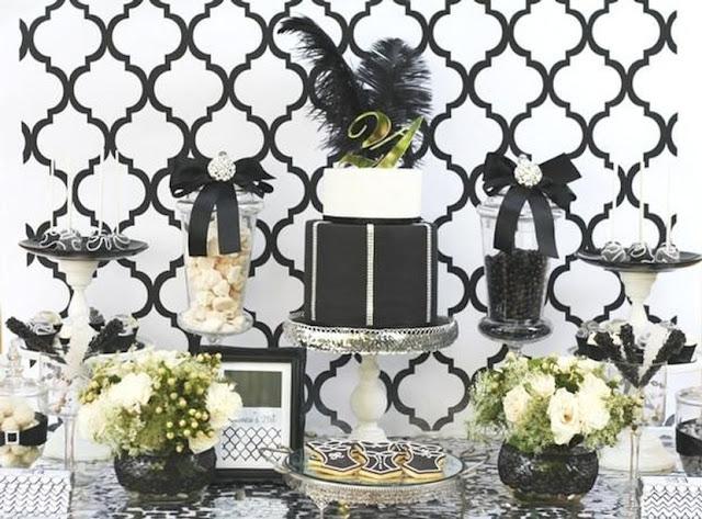 deco table noir et blanc pour anniversaire