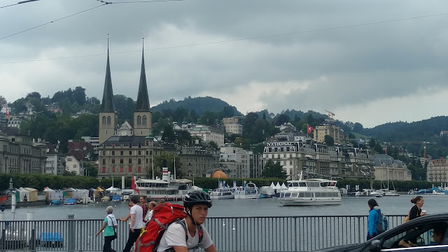 the bridge across the lake in the center of Lucerne