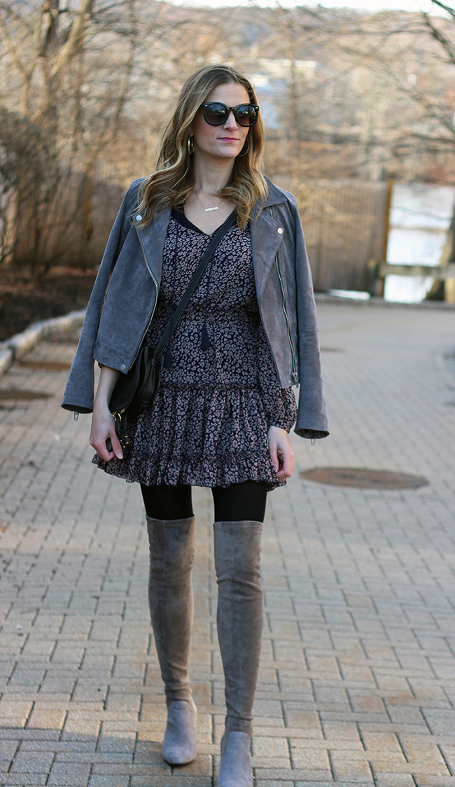 How to wear dresses in the winter #ruffledress #springdress