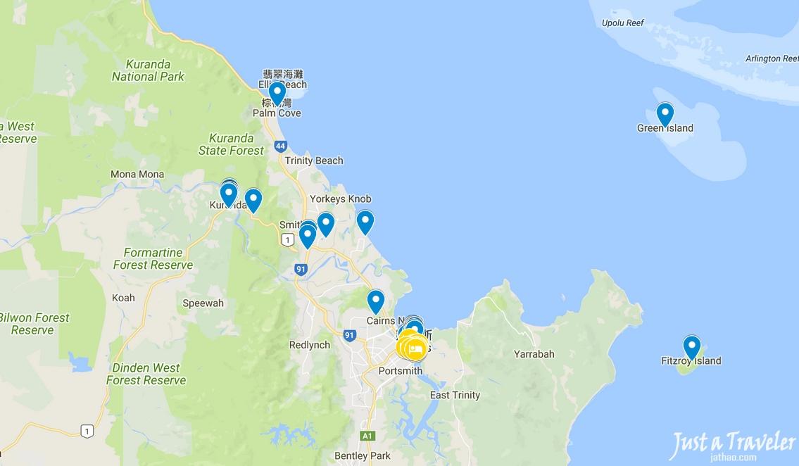 凱恩斯-景點-推薦-地圖-旅遊-自由行-澳洲-Cairns-Tourist-Attraction-Map-Travel-Australia