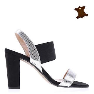 sandale negre din piele naturala ieftine cu toc gros si insertii argintii