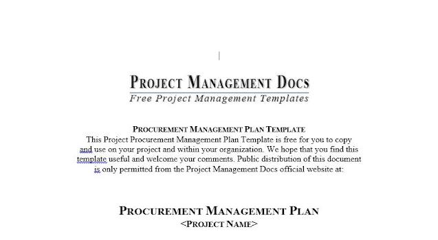 Procurement Management Plan Template Free Download