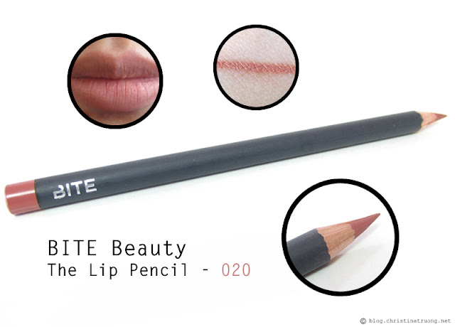 BITE Beauty The Lip Pencil in 020 first impression review and swatches.
