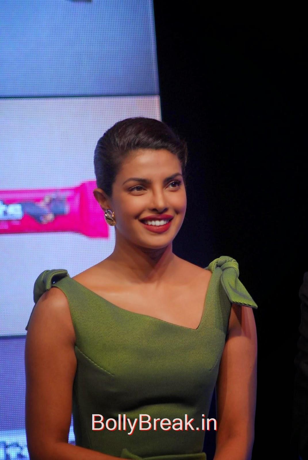 Priyanka Chopra Pics in Green Dress, Priyanka Chopra Hot Pics in green dress from Hoppit Chocolate Launch
