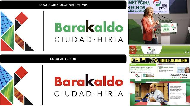 Nuevo y antiguo logo municipal, e imágenes electorales y de las web del PNV con el verde